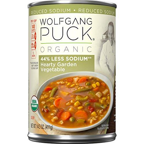 Wolfgang Puck Organic Soup (Wolfgang Puck 44% Less Sodium Organic Soup, Hearty Garden Vegetable, 14.5 Ounce)