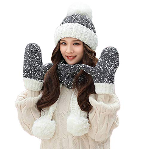(TOTOD Caps+Scarf+Gloves Suit Women Crochet Hat Fur Woolen Knit Thick Cable Knitted Three-Piece Set (A-Navy))