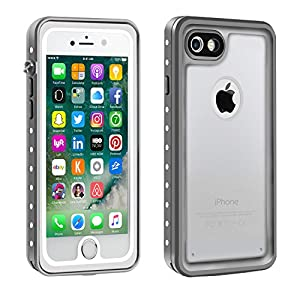 iPhone 7 Waterproof Case with Clear Sound, Eonfine Shockproof Full-sealed Rubber Rugged Cover with Touch ID, Absolutely 100% Water Snow Dust Dirty Proof Case for iPhone 7 4.7 Grey/Transparent