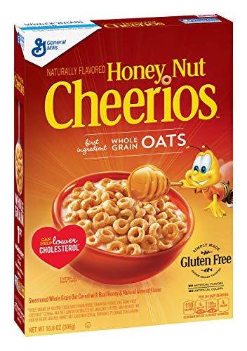 - Honey Nut Cheerios, Gluten Free, Cereal with Oats, 10.8 oz