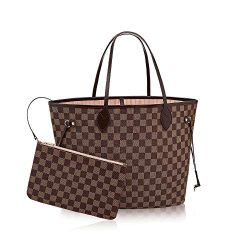 Neverfull Style Canvas Woman Organizer Handbag Damier Tote Shoulder Fashion Bag MM (Medium) Size with Rose Ballerina Lining by Look At My Bags (Vuitton Fake Handbags Louis)