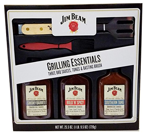 Jim Beam Grilling Essentials Three BBQ Sauces, Tongs and Basting Brush