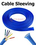 1/4'' Expandable Wire Cable Sleeving Expandable Braided Sleeving Braided Cable Sleeve Expandable Braided Cord Sleeve Cord Managment Super-Deals-Shop (10 FT 1/4'', Blue)