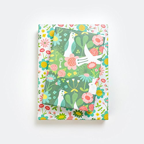 Enchanted Garden/Wonderland Designer Gift Wrap (6 Sheet Value Pack) - Reversible - Eco-friendly Wrapping Paper By Wrappily