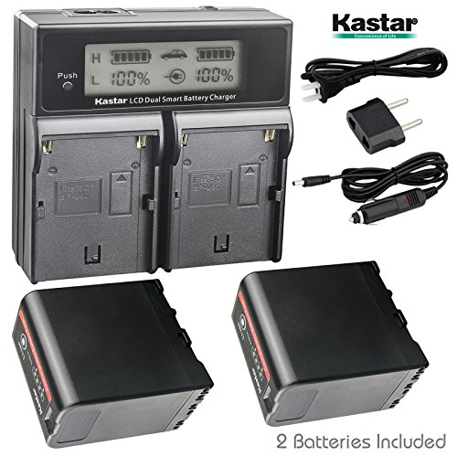 Kastar LCD Dual Fast Charger + 2 Battery for Sony BP-U60, BPU60, BPU65 and PMW-100, PMW-150, PMW-160, PMW-200, PMW-300, PMW-EX1, EX3, PMW-EX160, PMW-EX260, PMW-EX280, PMW-F3, PXW-FS5, PXW-FS7, PXW-FX9 (Sony Bp Battery Charger)