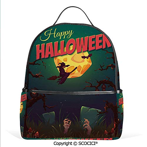 3D Printed Pattern Backpack Happy Halloween Poster Design Witch on Broom Mushroom Dead Resurgence Vintage Decorative,Multicolor,Adorable Funny Personalized Graphics]()