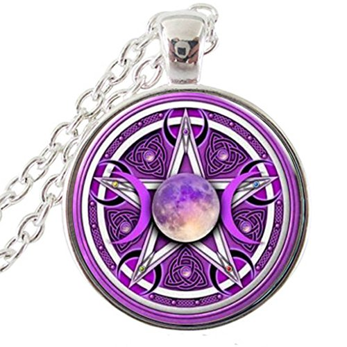 Mo han Triple Moon Goddess Pendant Pentagram Necklace Witch Jewelry Glass Wicca Silver Necklace