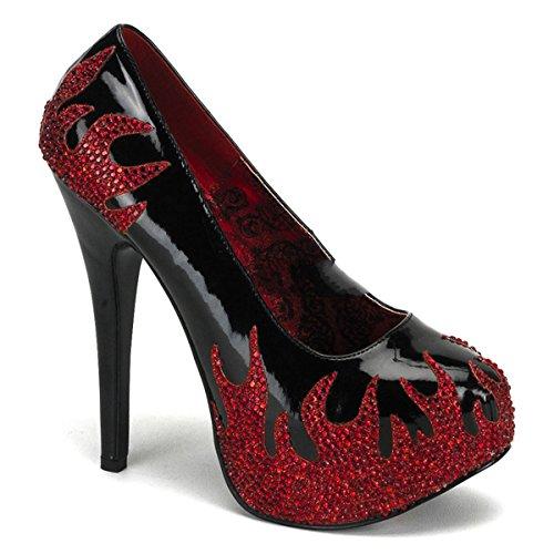 Bordello - Zapatos de vestir para mujer Schwarz/Rot