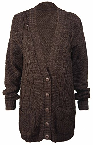 (PurpleHanger Women's Long Sleeve Cable Knit Chunky Cardigan Dark Brown 12)
