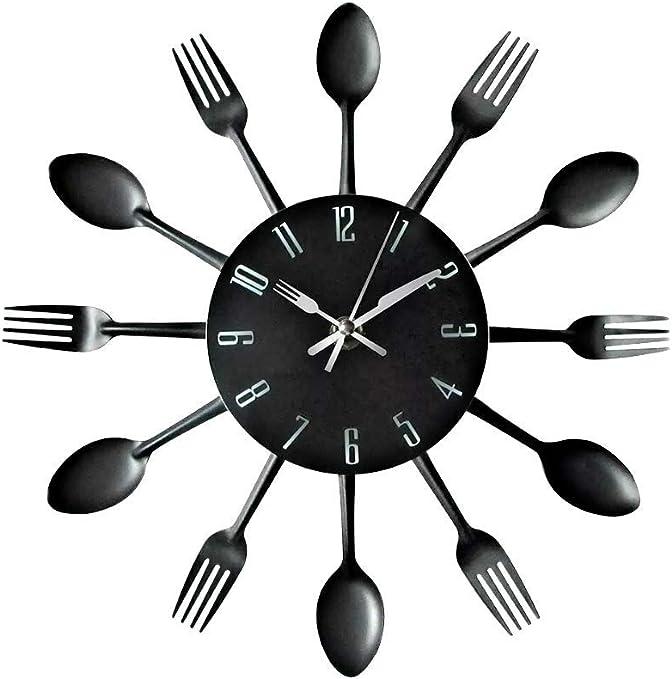 Reloj de cocina efecto espejo con diseño de cuchara, tenedor, cubertería, adhesivo extraible en 3D para decoración del hogar: Amazon.es: Hogar