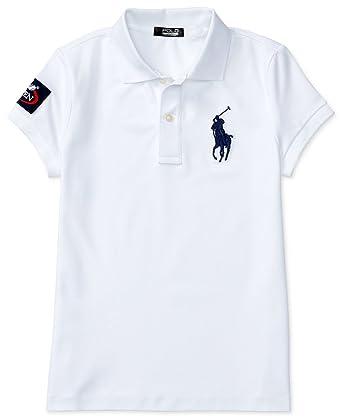 07b3877b Amazon.com: RALPH LAUREN Girls US Open White Big Pony Polo Shirt (5 ...