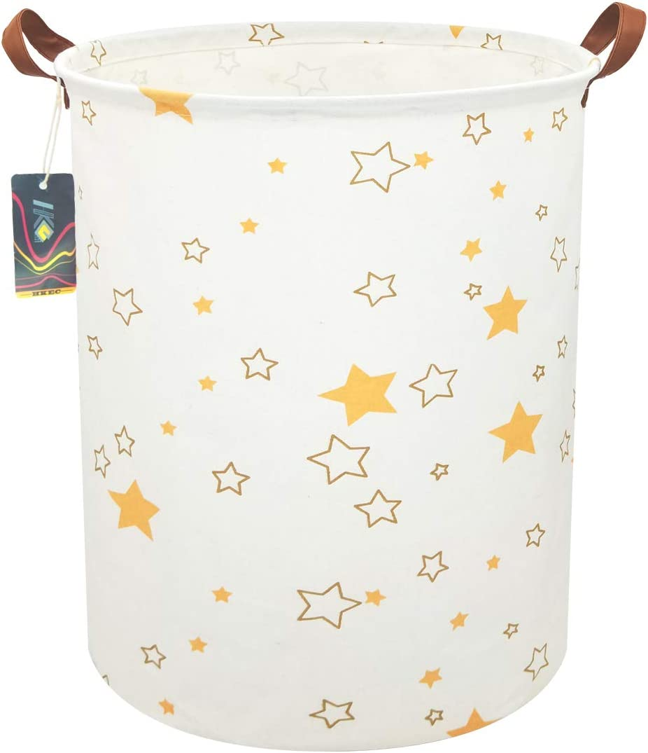 """HKEC 19.7""""Waterproof Foldable Storage Bin, Dirty Clothes Laundry Basket, Canvas Organizer Basket for Laundry Hamper, Toy Bins, Gift Baskets, Bedroom, Clothes, Baby Hamper (Pink Star)"""