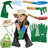 Born Toys Kids Gardening set (6 pc),Garden Tools, Kids Gardening Gloves and WASHABLE HAT set for Real or Sand Gardening Water Sprayer and bag included