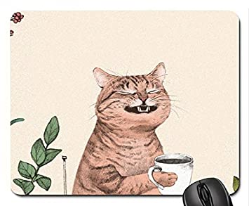 Amazon マウスパッド かわいい 猫 子猫 笑顔 コーヒーを飲む