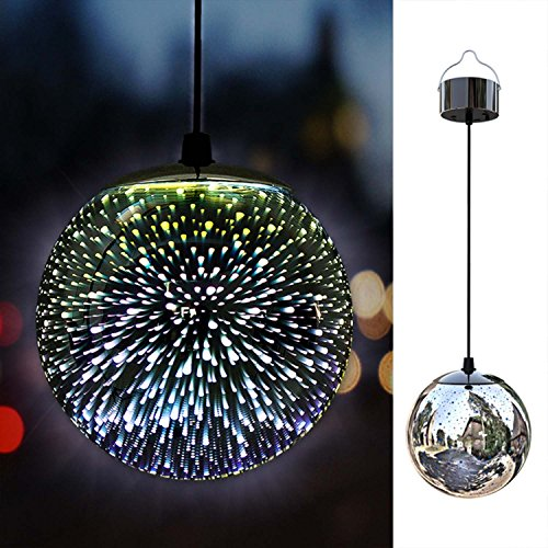 TAKEME Solar Lights Outdoor Garden,Hanging Outdoor Decor Lights,Gazing Ball Pendant LED 3D Firework Waterproof Lights