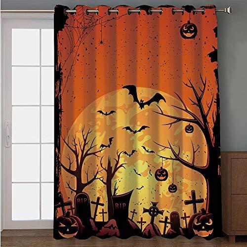 iPrint Blackout Patio Door Curtain,Halloween,Grungy Graveyard Cemetery Necropolis with Bats Pumpkins Crosses Cobweb Decorative,Orange Brown Black,for Sliding & Patio Doors, 102
