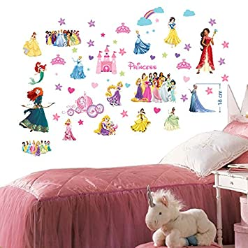Disney Princesses Wall Stickers for Girls Bedroom Mural Wall Decal Art  Wallpaper Stickers for Nursery Wall...