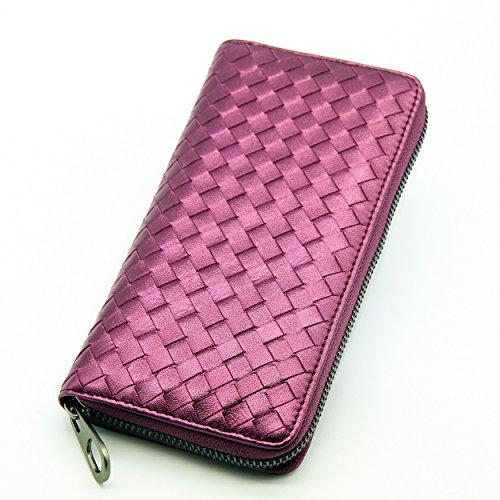 Sheepskin Long Wallet (MYZIN Genuine Leather or Cowhide Long Women Wallet / Credit Card Purse Case (Purple))