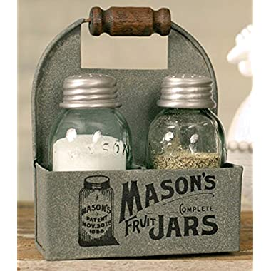 1 X Mason's Jars Box Salt and Pepper Caddy with Wood Handle