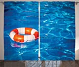 Ambesonne Buoy Decor Curtains, Life Buoy In Crystal Clear Swimming Pool Summer Relaxing Vacation Sports, Living Room Bedroom Decor, 2 Panel Set, 108 W X 90 L Inches For Sale