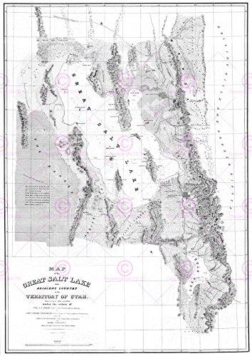 Doppelganger33 Ltd Map 1852 Stansbury Great Salt Lake Utah Large Canvas Art Print