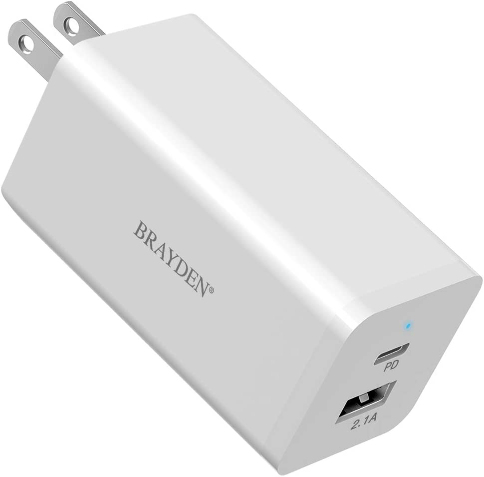 BRAYDEN 66W USB C Charger, GaN Tech USB-C PD 3.0 Dual Port Quick Charge Power Foldable Adapter, Fast Type C Charger for iPhone 11 Pro Max SE, MacBook, iPad Pro, Google Pixel, USB C Laptop