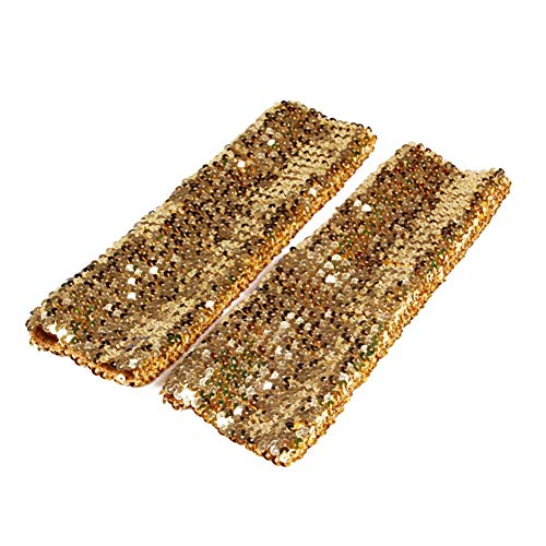 Song Qing Women's Sparkling Glitter Sequins Stretch Dazzle Arm Sleeves Stretch Arm ()