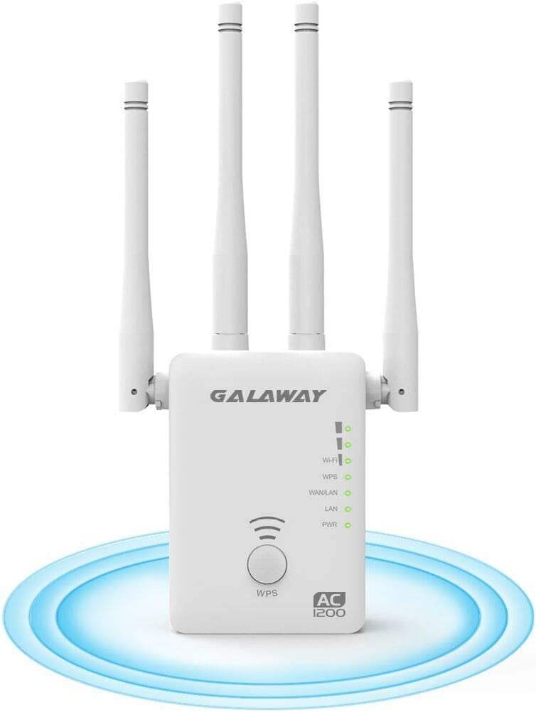 1200Mbps WiFi Booster AC WiFi Extender WiFi Repeater with 4 External Antennas GALAWAY WiFi Range Extender WiFi Signal Amplifier Dual External Band 2.4GHz and 5GHz