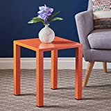 Nantuk Indoor Modern Orange Aluminum 16″ Side Table Review