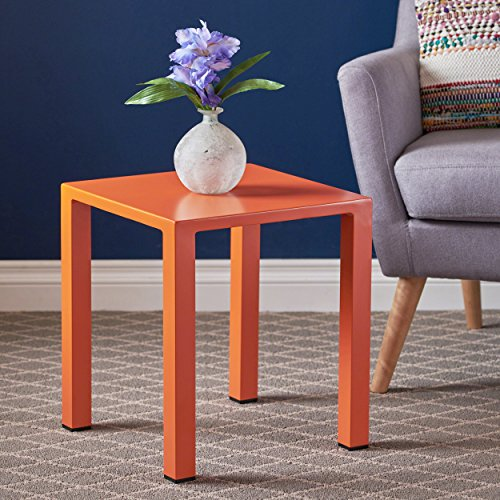 Nantuk Indoor Modern Orange Aluminum 16″ Side Table Review
