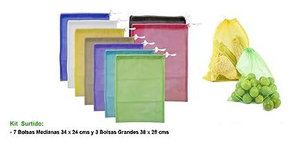 5a82540f8 10 Bolsas Ecologicas Para Frutas,Verduras,Supermercado,Varios Tamaños,  Bolsas Reutilizables,