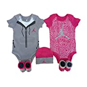 Nike Air Jordan Infant Boys or Girls 5-Piece Set (0-6 Months, Pink (5814) / Light Grey/White/Pink)