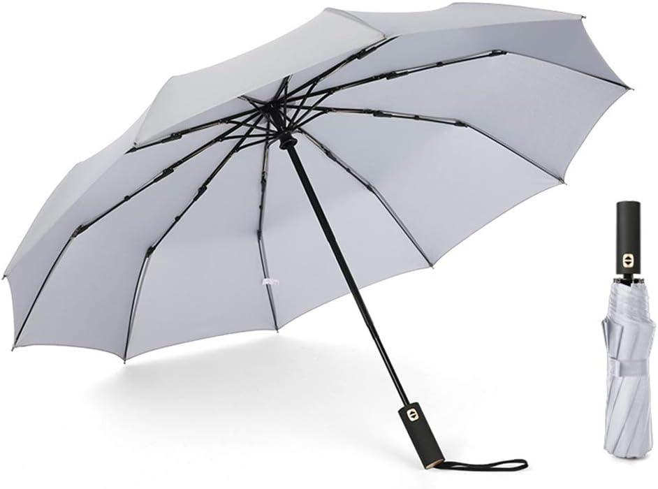 JUNDY Paraguas a Prueba de Viento y Estable, Paragua de Bolsillo Compacta y Ligera Sombrilla Plegable automática de plástico Negro Color Triple parasol4 105cm: Amazon.es: Hogar
