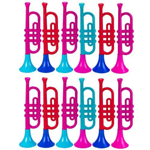 Kicko Plastic Trumpet - 12 Pack - 13.5 inches Multicolored Assorted Plastic Brass Instrument for Kids - Great Musical Instrument Toys for Toddlers - Ideal for Parties for $<!--$29.99-->