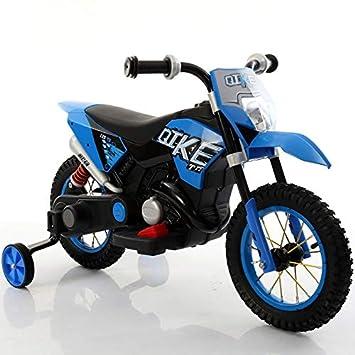 kid go Moto Cross Moto eléctrica ruedas hinchables Azul 6 V ...