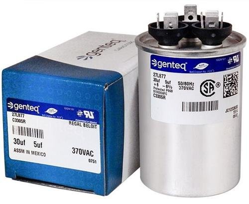 GE Genteq Replacement for Capacitor 30/5 uf 370 volt 97F9833, 370V, 30/5 MFD, Dual Run, Round ()
