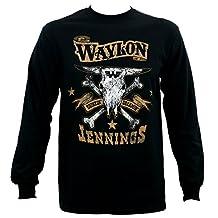 Waylon Jennings Men's Drinkin and Dreamin Brown Logo Long Sleeve T-Shirt