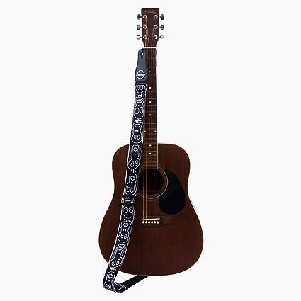 Rayzm Correa de la Guitarra y Bajo, Correa de Polyester para Guitarra Acústica/Eléctrica/bajo con Bolsillo para Púa y Diseño de Calaveras, 5cm de Ancho, ...