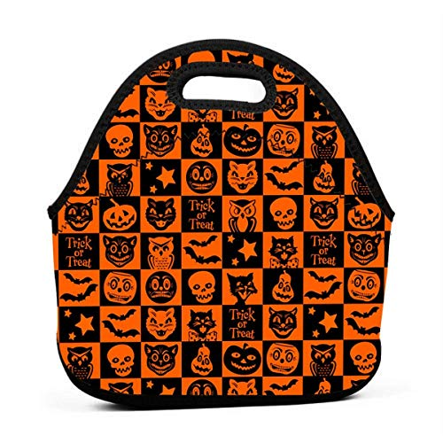KFOOD Halloween Gene Portable Carry Insulated Lunch Bag - Large Reusable Lunch Tote Bags for Women, Teens, Girls, Kids, Baby, Adults Outdoor Tour School Office Picnic Bag
