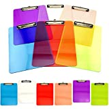 Adorox Set of 12 Standard Size Clipboards Clear Colorful Transparent Mix Assorted Colors (Multicolored 12 Pack)