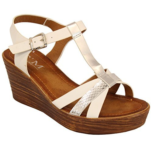 MCM Ladies Wedge Sandals Womens Strappy Open Toe Shoes Party Fashion Buckle Summer White - 00315 NigrPHs0