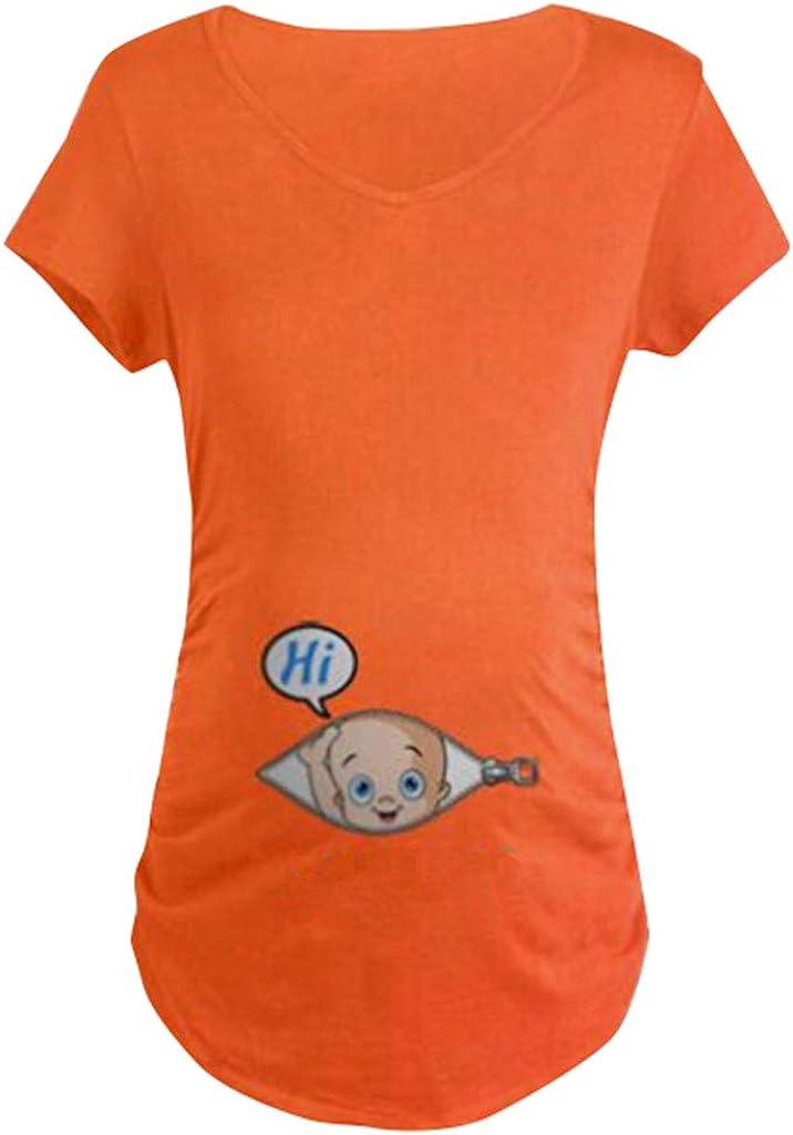 Women Maternity Short Sleeve Cute Print T-shirt Pregnant Cartoon Graphic Tops