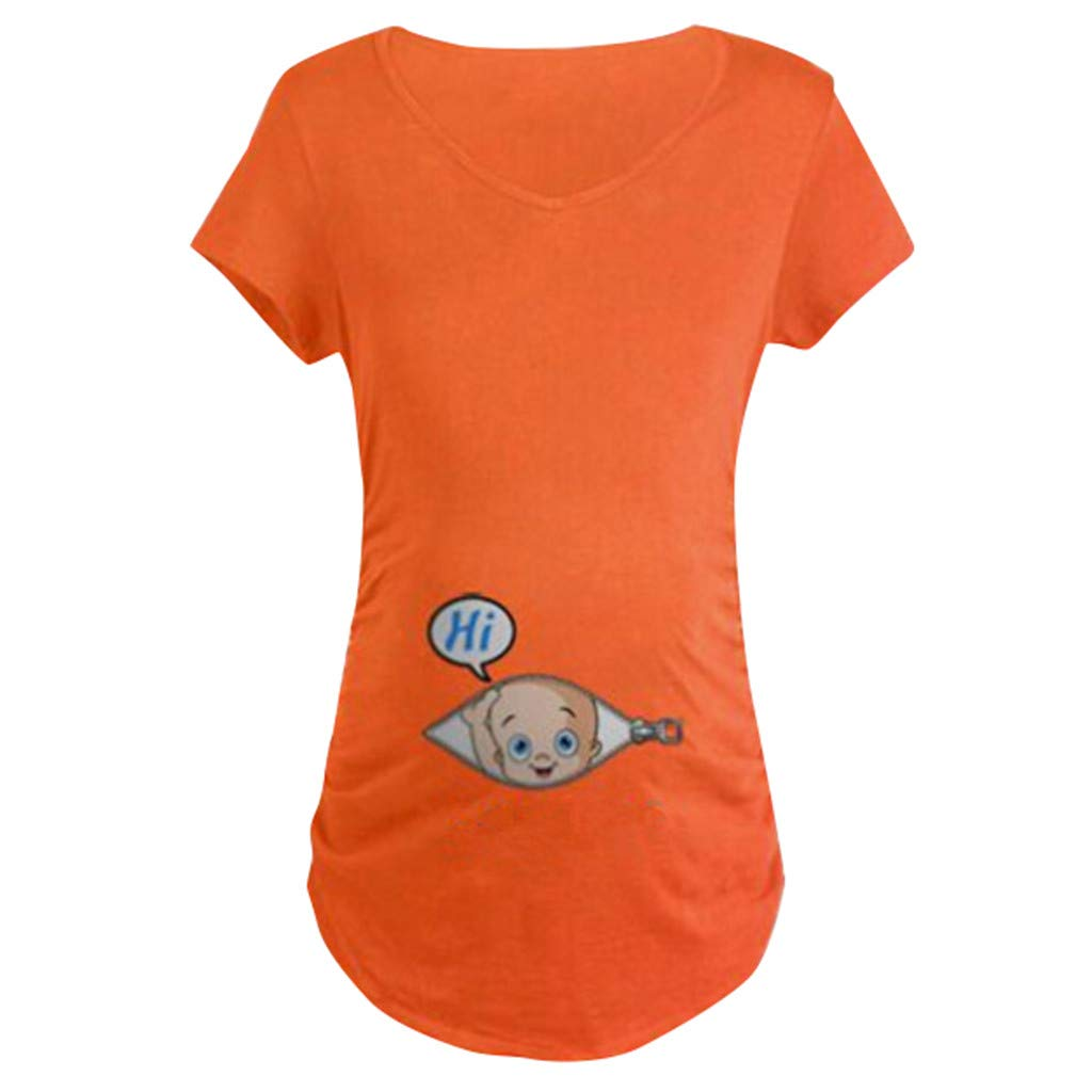 Breastfeeding T-Shirt for Women,Women's Maternity Baby in Pocket Print T-Shirt Top Tee T-Shirt Pregnancy Clothes,Maternity Sweaters,0.855230125701172,Red