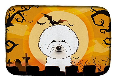 Caroline's Treasures BB1775DDM Halloween Bichon Frise Dish Drying Mat, 14