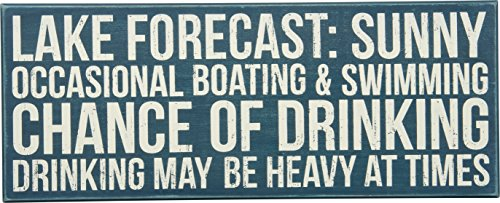 Primitives by Kathy Distressed Teal Box Sign, 20 x 8-Inches, Lake Forecast (Lake Decor Signs)