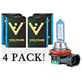 Voltage Automotive H11 Headlight Bulb Polarize White Replacement (4 Pack) - Professional Upgrade Head Light Bulb