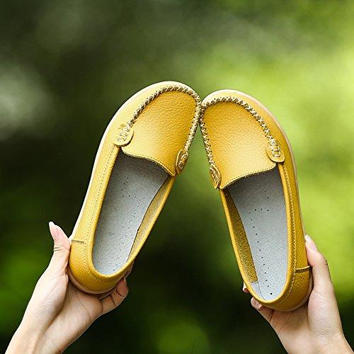 Hecater Kvinners Myke Skinn Tilfeldige Loafer Leiligheter Skli På Kjøre Loafers Gule