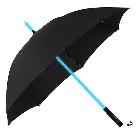 PLEMO Paraguas Negro Golf con Linterna y 7-Color LED en el eje de colores