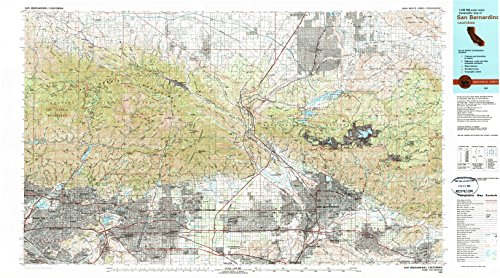 San Bernardino CA topo map, 1:100000 scale, 30 X 60 Minute, Historical, 1982, updated 1983, 24.1 x 43.4 IN - - 30 Covina