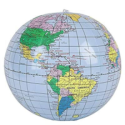 Rhode Island Novelty 16 Inch World Globe Inflates 2 Globes Per Order: Toys & Games